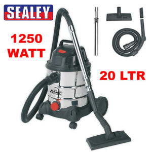 Sealey PC200SD Vacuum Cleaner Industrial Wet & Dry 20ltr 1250W/230V Stainless Dr