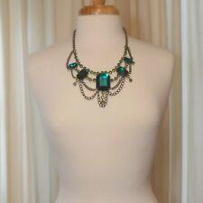 Vintage Robert Rose Statement Necklace Signed Designer Jewelry Green Rhinestones