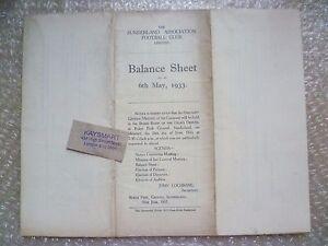 SUNDERLAND FC Ltd Annual Accounts & Directors Reports Y/E 1933, 6h May- RARE***
