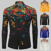 Fashion Mens Autumn Musical Note Pattern Casual Blouse Long Sleeves Shirt Top