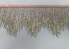 "By yard-6"" ROSE GOLD/GOLD Ombré Glass BUGLE Beaded Fringe CHEVRON Costume Trim"