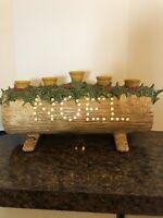 Vintage Lighted Ceramic Yule Log Noel Christmas Centerpiece 5 Candle Holds