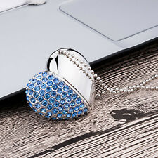 16GB Crystal Diamond Heart USB2.0 Flash Drive Memory Stick Pen Drive Cute U Disk
