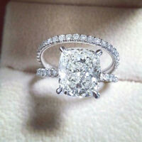 Certified 3.10ct White Cushion Diamond Engagement Bridal Ring Set 14K White Gold