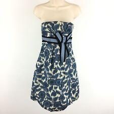 BCBGMaxazria Dress Size 4 Strapless Party Cocktail Blue Bubble Bow Floral