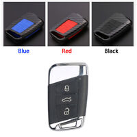 Carbon Fiber Design Shell+Silicone Cover Holder Fob Case For VW Remote Key B
