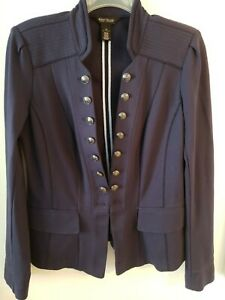 White House Black Market Navy Blue Military Blazer Sz12 black Decorative buttons