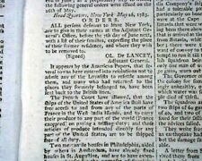 Revolutionary War Fate Of Loyalistst America & New York British 1783 Newspaper