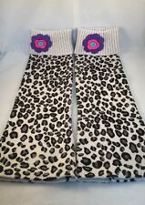 """HANNA ANDERSSON """"Tres Cozy"""" LEG WARMERS in BLACK & WHITE LEOPARD & Pink SZ M"""