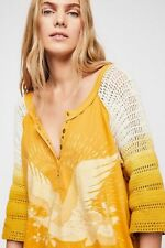 Free People Golden Tranquility crochet Top Size Large L NWT NEW Yellow
