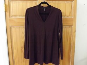 Eileen Fisher LS Tencel Blend Knit Top in Aubergine---size L