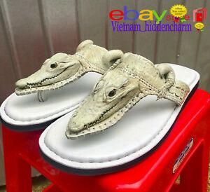 Men's Flip-flop FULLCrocodile HEAD  - Genuine Crocodile Skin-Handmade