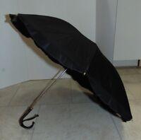 "Vintage 29"" Umbrella /Parasol Mid Century Leather Handle Black"