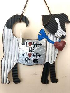 Love Me Love My Dog Corrugated Metal Wall Sign Home/Garden Decor Sunset Vista