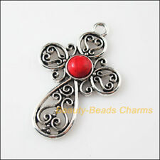 1 New Retro Charms Tibetan Silver Red Turquoise Cross Pendants 31x47.5mm
