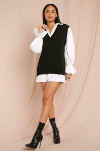 Womens Sweater Vest Ladies Rib Hem Sleeveless V Neck Jumper Sweatshirt Tank Top