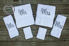 6 piece Mr & Mrs Monogrammed Towel Set - Bridal Shower Gift Set - Wedding Gift