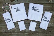 6 piece Mr & Mrs Monogrammed Towel Set - Bridal Shower Gift Set - Wedding Gift