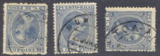 Puerto Rico, 1890's, 3c stamps with postmarks AGUADILLA, HUMACAO, TOA-ALTA