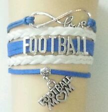 Football Leather Charm Bracelet Silver-Blue & White-Adjustable-Sports-# 56