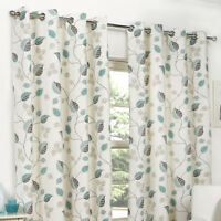 Eyelet Curtains April Leaf Fully Lined Teal