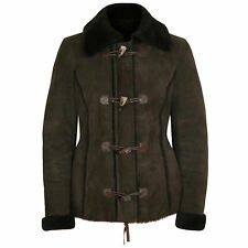 MICHAEL KORS COLLECTION real shearling fur lined jacket leather fitted coat sz.S