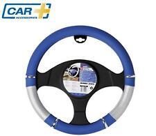 COCHE + coche cubierta para volante soporte Plata Cromo Azul Calidad Funda