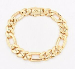 11mm Mens Shiny Plain Royal Figaro Bracelet Real 10K Yellow Gold Double Lock