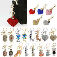 Lovely Elephant Keychain Rhinestone Women Bag Pendant Key Ring Jewelry Xmas LOT