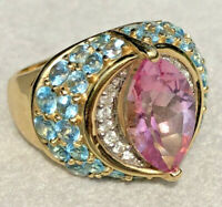 14K Yellow Gold Marquise Pink Sapphire Blue Spinel Diamond Vintage Cocktail Ring