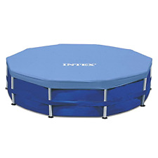 Intex 15-Foot Round Metal Frame All Blue Pool Cover Snug Fit Easy To Use, New