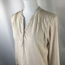 L.L. Bean~Women's Size M~Long Sleeve~Henley Neck~Knit Top~Pintucks~Oatmeal~
