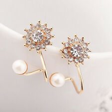 4d473530c0f0 Mujer Elegante Pendientes de botón perla Cristal Aretes oreja Stud Earrings