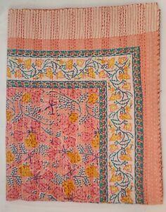 Indian Kantha Quilting Floral Hand Block Print Blanket Cotton Coverlet Bedding V