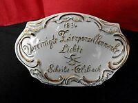 """Porz. Werbeaufsteller, bem. Gold, """" Lichte & Scheibe-Alsbach """"  THÜRINGEN"""