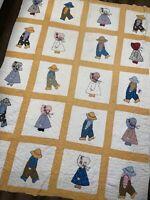 """Vintage Applique Patchwork Quilt Sunbonnet Sue Girl Boy Holly Hobbie 62""""x84"""""""