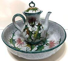 Dandelion Lidded Pitcher & Wash Basin Bowl Set Washstand Dresser Vanity Italy