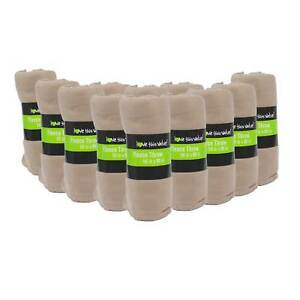 24 Pack Wholesale Soft Fleece Blanket or Throw Blanket - 50 x 60 Inch Tan