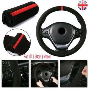 "Universal 15"" 38cm Auto Car Steering Wheel Cover Protector Suede Anti-Slip - UK"