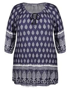Plus Sizes Loose 3/4 Sleeve Navy & Ivory Printed Peasant Tunic-Size 18.