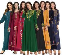 Embroidery Ethnic Abaya Muslim Women Long Maxi Dress Jilbab Party Cocktail Robe