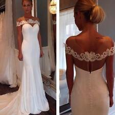 Elegant Chiffon Mermaid Wedding Dress Bridal Gown Custom UK size 6/8/10/12/14/16
