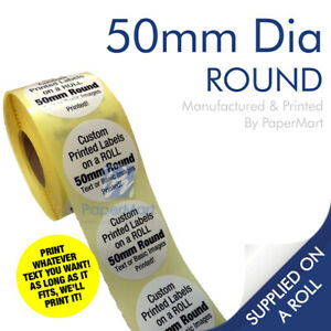Round Circle Stickers Printed Labels PERSONALISED - 50mm Round - ON A ROLL