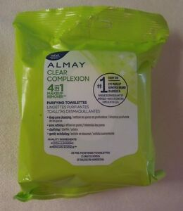 Almay Clear Complexion 4 in 1 Makeup Remover Purifying Towelettes ~ 25 Count