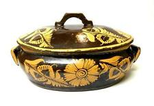Vintage Mexican Pottery Tlaquepaque Style Covered Casserole Dish Floral 15x9x4