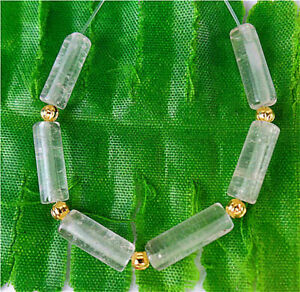 13x5mm 6Pcs White Crystal Circular Tube Height Hole Pendant Bead BT90741