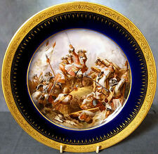SUPERB SIGNED HAND PAINTED 19th.C  FRENCH CABINET PLATE - THE BATTLE of DENAIN