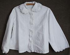 Chemisier ancien en coton blanc et dentelle – corsage blouse chemise -lace shirt