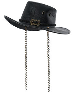 Punk Rave Womens Steampunk Cowboy Hat Black Embossed Faux Leather Stetson Fedora