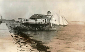 Portland ME Breakwater Lighthouse Sailing Ship Real Photo Postcard